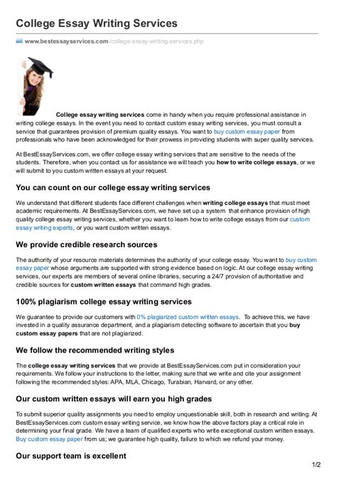 Paper Writing Service College by Bestessayservices College Essay Writing Services