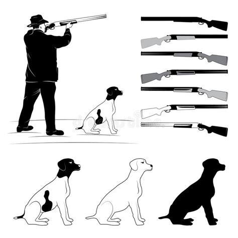 hunters silhouettes stock vector illustration  hunting