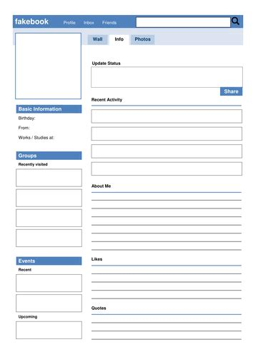 profile template social media fakebook profile template by drama trunk teaching resources tes
