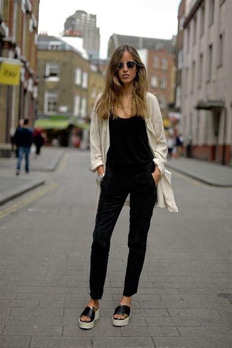 jumpsuit with blazer black jumpsuit white jacket black slippers looks