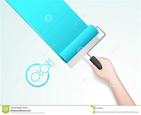 kougra paint brush colors human painting wall with roller brush stock photo