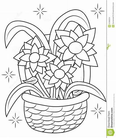 Basket Flower Coloring Cesta Colorir Frutas Pagina