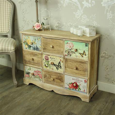 shabby chic bedroom drawers floral 9 drawer chest of drawers shabby vintage chic bedroom furniture storage ebay