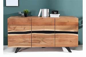 Buffet Metal Et Bois : buffet bois massif et m tal 150 cm acacia pour salle manger ~ Melissatoandfro.com Idées de Décoration