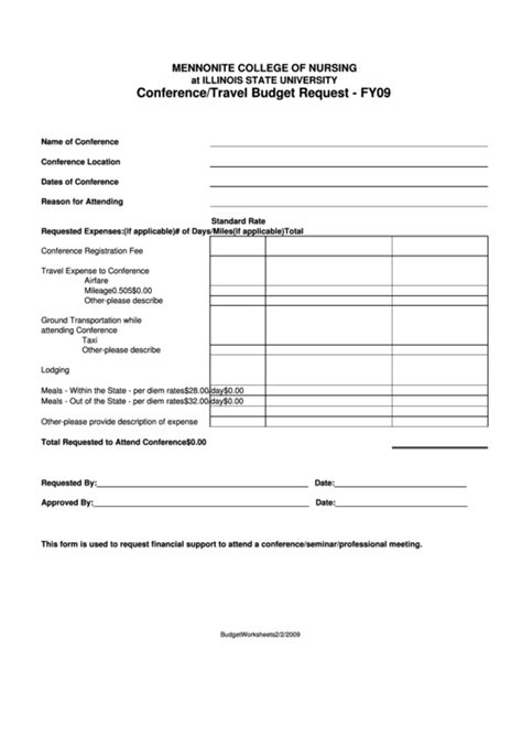 travel budget request template conference travel budget request form printable pdf download