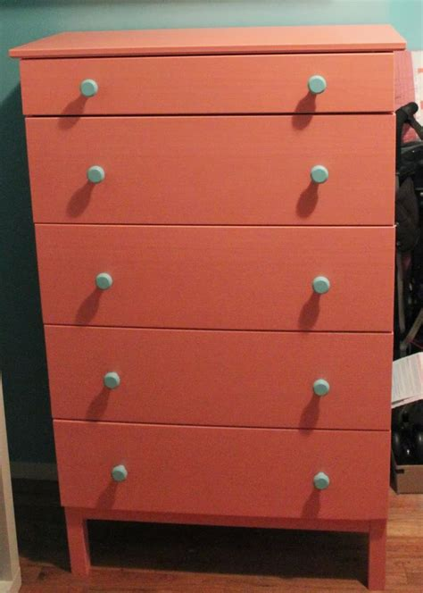 Tarva 6 Drawer Dresser Hack by My Coral Dresser With Blue Knobs Ikea Tarva 50 Quot 5 Drawer