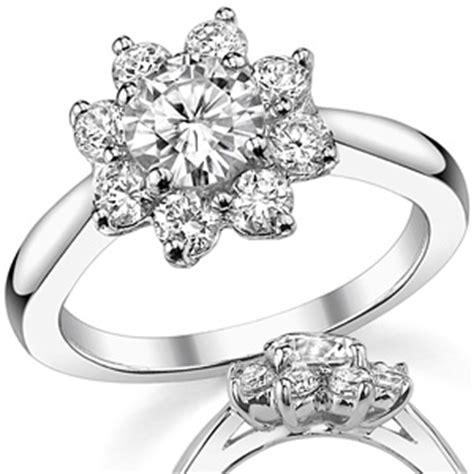 brilliant flower shaped moissanite engagement ring moissaniteco com fine moissanite