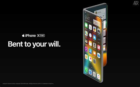 iphone  fold konzept zeigt ein iphone mit faltbarem