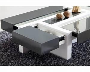 Table Basse De Salon : table basse design quatre tiroirs nora panneaux particules design gris blanc table basse ~ Teatrodelosmanantiales.com Idées de Décoration