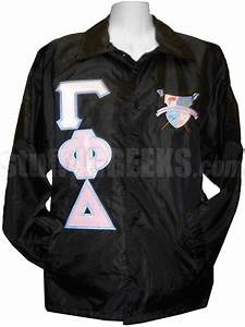gamma phi delta crossing jacket with the crest on the left With sorority letter jackets