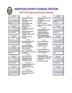 Newton County School Calendar 2017 2018
