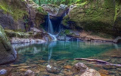 Oregon Pond Waterfall Nature Landscape Rock Moss