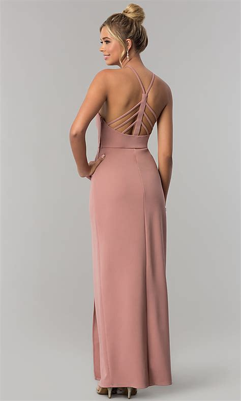 Jersey Long Pink Prom Dress with Slit - PromGirl