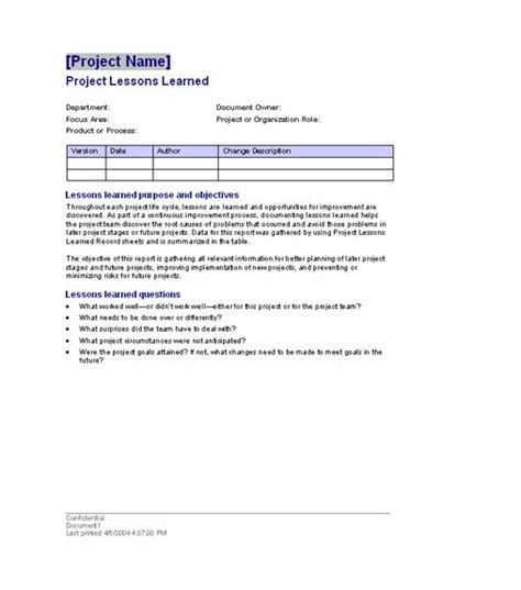 Lessons Learnt Project Management Template by Project Lessons Learned Templates Office Free Ms