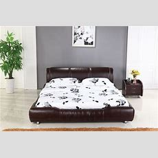King Size 18m Bed Luxury Brown Color Top Grain Leather