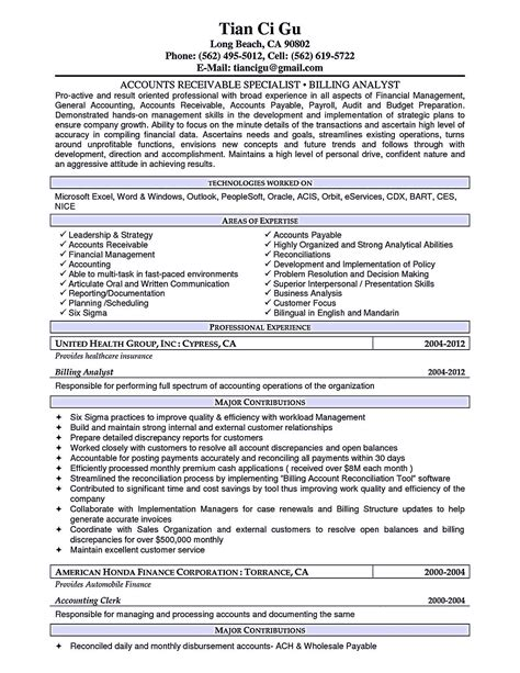 Accounts Receivable Resumes by Account Receivable Resume Shows Both Technical And