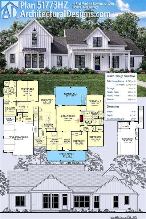 plan hz  bed modern farmhouse  bonus  garage modern farmhouse plans farmhouse