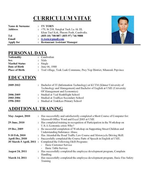 Format For Writing Cv by Writing A Curriculum Vitae Sle Cv Hznrkdk