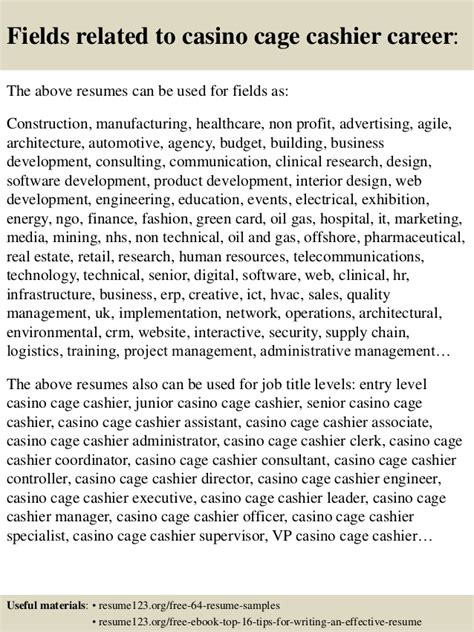 top 8 casino cage cashier resume sles
