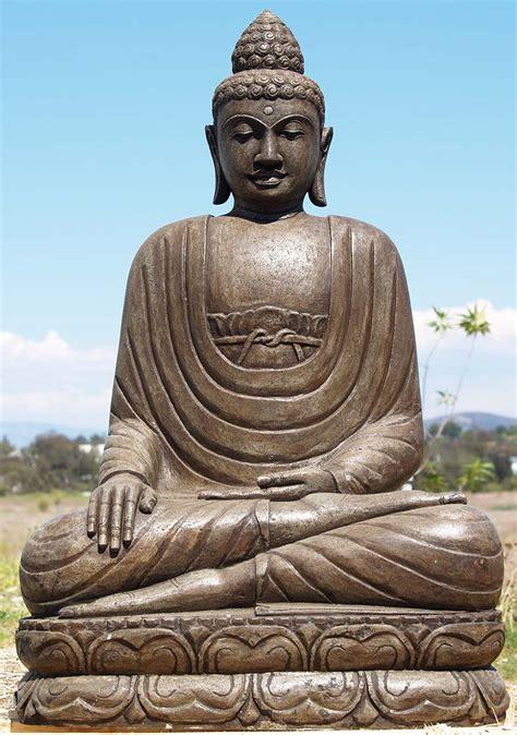 "Sold Stone Earth Touching Buddha Statue 42"" (#85ls156"