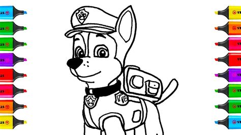 draw paw patrol chase coloring pages kit toys