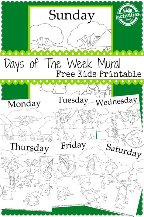 days   week mural  kids printable