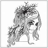 Halloween Coloring Portrait Adult Dead Young Outline Drawing Vector Line Illustration Carnival Hairstyle Hand sketch template