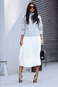 Grey Pleated Skirt Outfit