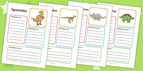 dinosaur fact file worksheets primary resources