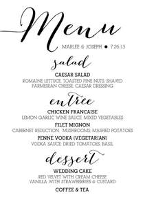 wedding drink menu template sugar calligraphy menus