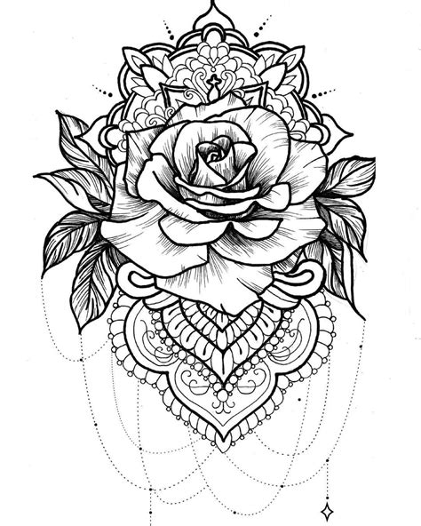 greyscale rose mandala tattoo idea