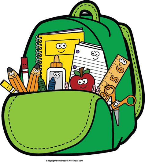Back to School Supplies Backpack Clip Art