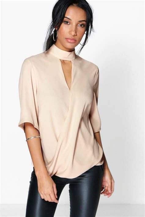 wrap front blouse boohoo womens high cut out choker neck wrap front