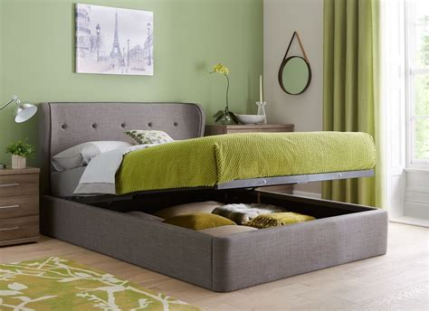 cooper charcoal grey fabric ottoman bed frame bedroom