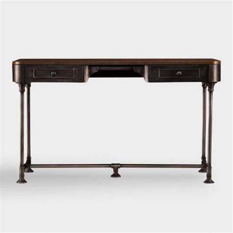 caign desk world market wood and metal industrial style desk world market