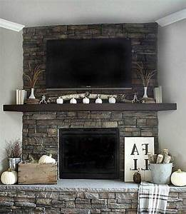 tv, above, stone, fireplace, ideas, in, 2020
