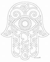 Hamsa Coloring Hand Pages Drawing Pattern sketch template