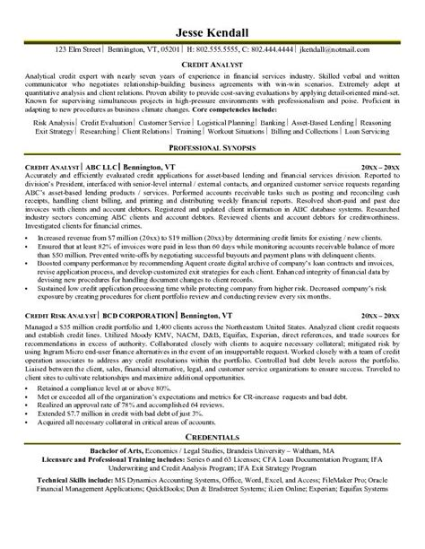 Credit Analyst Resume Objective Exles by Exle Credit Analyst Resume Free Sle