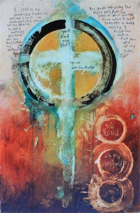 original scripture cross art painting  michel keck
