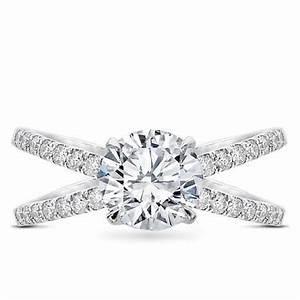Diamond Criss Cross Engagement Ring Setting R3095