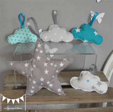 deco chambre etoile étoile et nuages à suspendre accrocher bleu turquoise