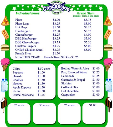 Snack Bar Menu Template by Printable Concession Stand Menu Best Sles Templates
