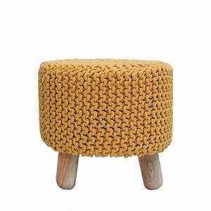 Pouf Tricot Jaune : pouf rond tr pied tricot 40cm nin label51 drawer ~ Teatrodelosmanantiales.com Idées de Décoration