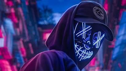 Neon 4k Hoodie Guy Wallpapers Hat Backgrounds