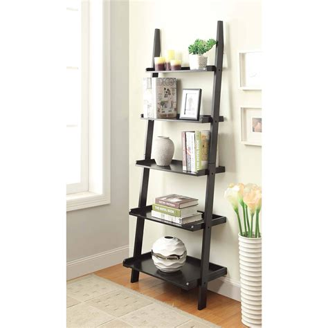 trestle 5 shelf bookcase white sauder ladder bookcase best home design 2018