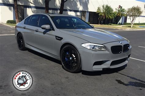 battleship gray color bmw m5 wrapped in 3m gloss battleship gray wrap bullys