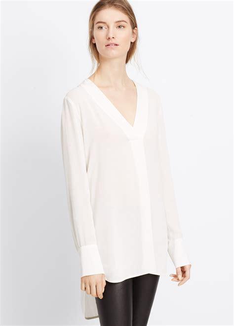 white blouse sleeve vince crepe sleeve v neck blouse in white lyst