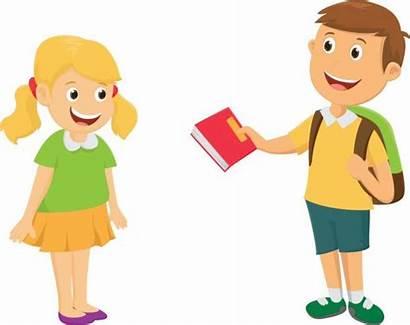 Borrow Sharing Clipart Friends Give Friend Boy