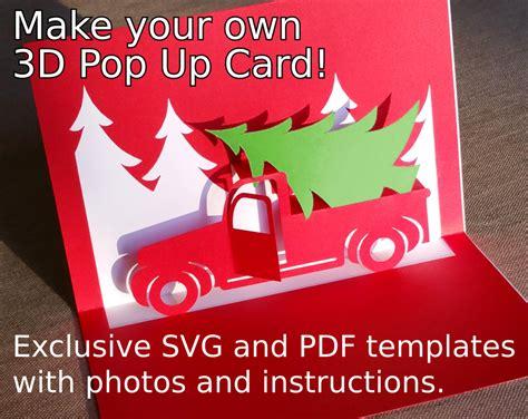 christmas truck popup card template svg   cricut