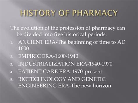 History Of Pharmacy by Ppt History Of Pharmacy Powerpoint Presentation Id 1607523